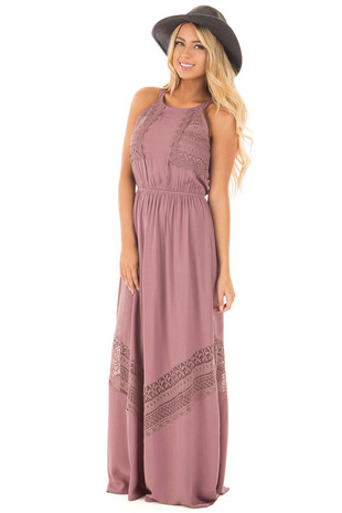 Mauve Maxi Dress with Crochet Details front full body