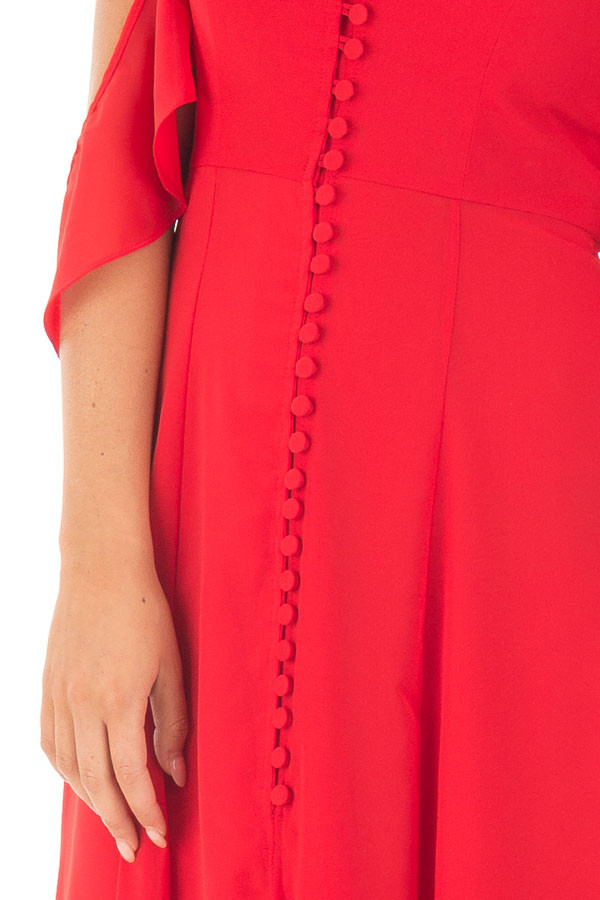 Lipstick Red Chiffon V Neck Maxi Dress with Front Slit detail