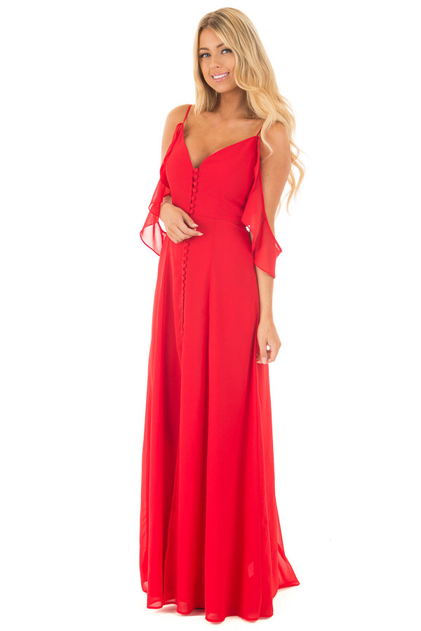 Lipstick Red Chiffon V Neck Maxi Dress with Front Slit front full body
