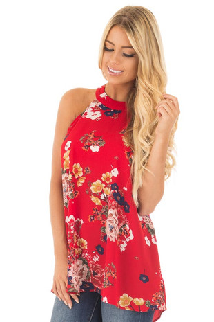 Red Floral Print Halter Tank with Keyhole Back Detail front close up