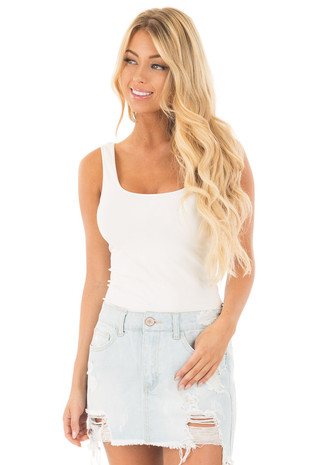 Light Wash Distressed Denim Mini Skirt front close up