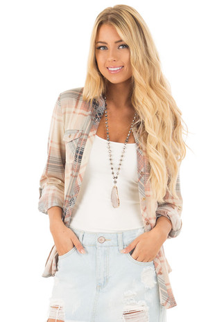 Cream and Blush Plaid Soft Button Up Top front close up