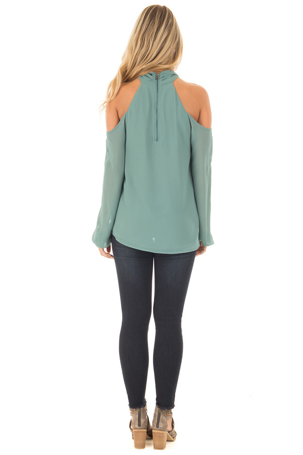 Moss Green Chiffon Cold Shoulder Long Sleeve Halter Top back full body