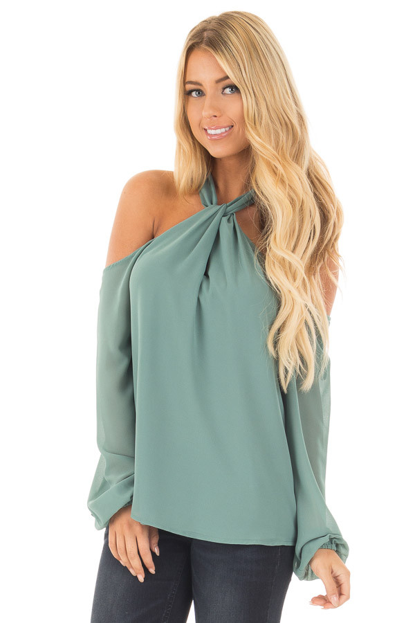 Moss Green Chiffon Cold Shoulder Long Sleeve Halter Top front close up