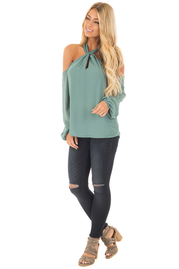 Moss Green Chiffon Cold Shoulder Long Sleeve Halter Top front full body
