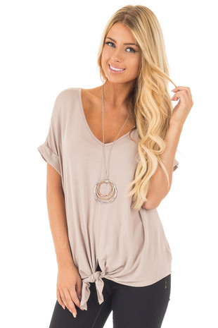 Light Taupe Short Sleeve Loose Fit Tee with Front Tie Detail front close up