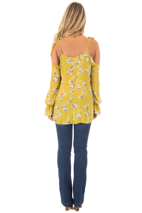Citronella Yellow Floral Print Cold Shoulder Blouse back full body