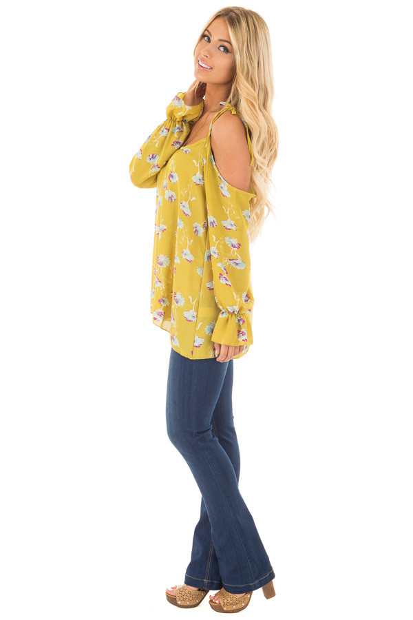 Citronella Yellow Floral Print Cold Shoulder Blouse side full body