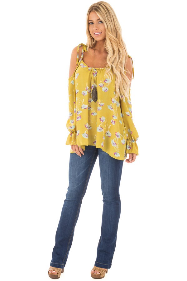 Citronella Yellow Floral Print Cold Shoulder Blouse front full body