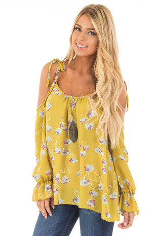 Citronella Yellow Floral Print Cold Shoulder Blouse front close up