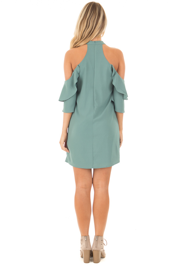 Moss Green Cold Shoulder Dress with Ruffle Details back full body