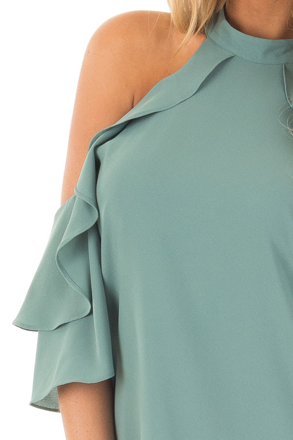 Moss Green Cold Shoulder Dress with Ruffle Details detail