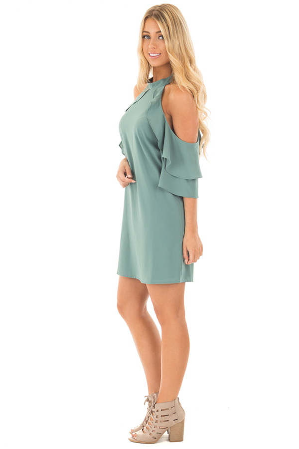 Moss Green Cold Shoulder Dress with Ruffle Details side full body