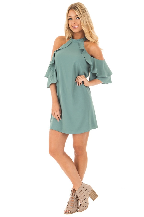 Moss Green Cold Shoulder Dress with Ruffle Details front full body