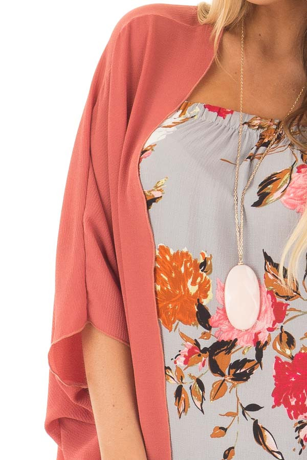 Brick Red Crepe Woven Open Dolman Cardigan detail