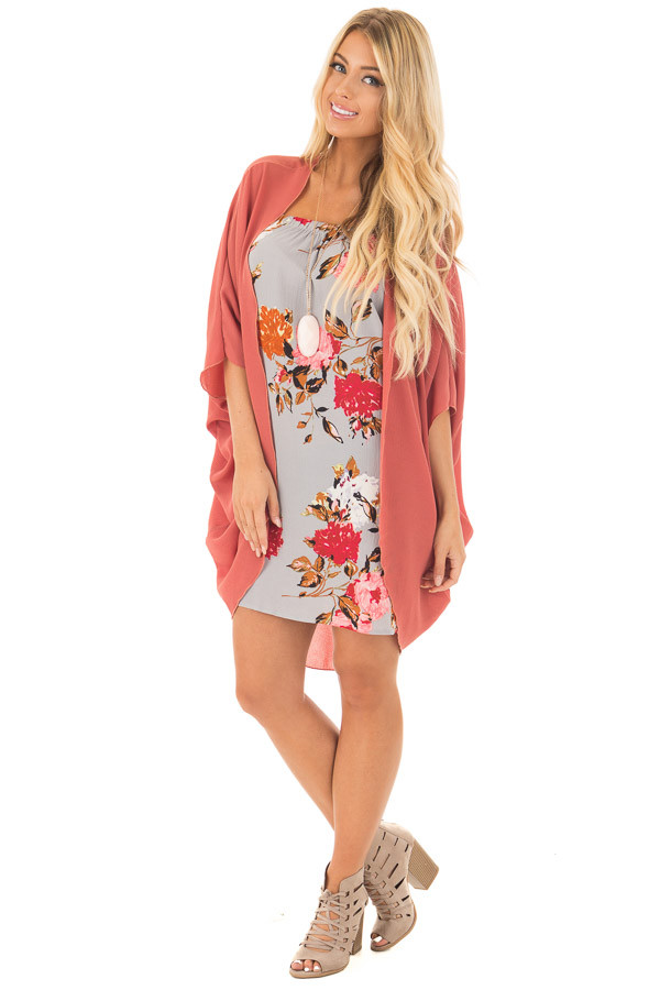 Brick Red Crepe Woven Open Dolman Cardigan front full body