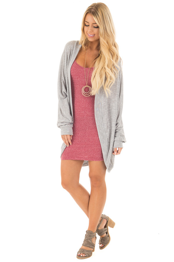 Burgundy Heathered Tank Top Dress front full body