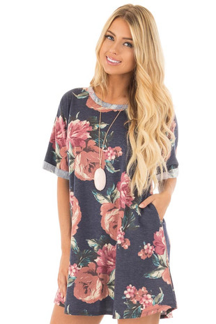 Navy Floral Print Dress with Pockets and Rolled Sleeve Detail front close up