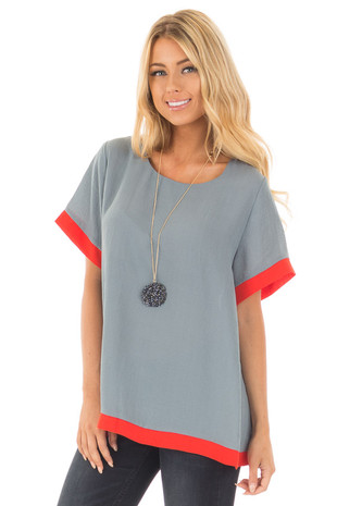 Stone Grey Short Sleeve Blouse with Lipstick Red Contrast front close up