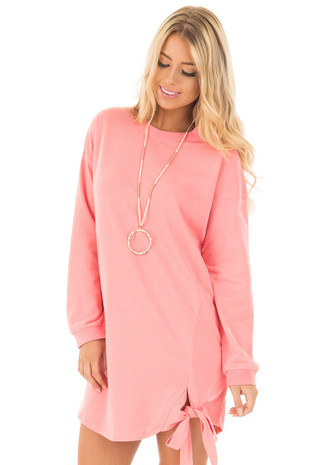 Flamingo Pink Knit Dress with Tie Detail front close up