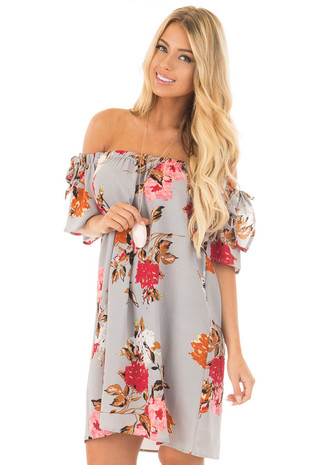 Steel Grey Floral Off Shoulder Dress with Sleeve Tie Detail front close up