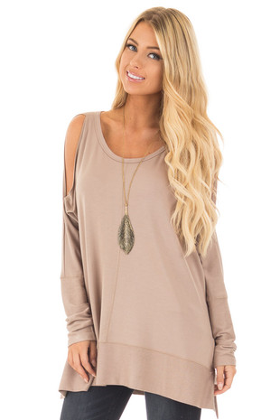 Light Mocha Cold Shoulder Cut Out Long Sleeve Top front close up