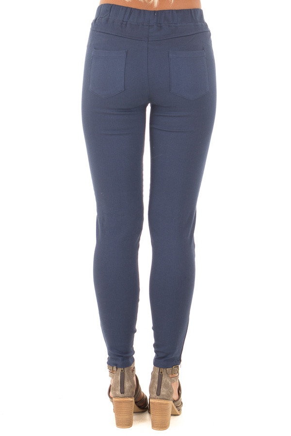 Navy Jegging with Moto Stitch Details and Side Zipper back view