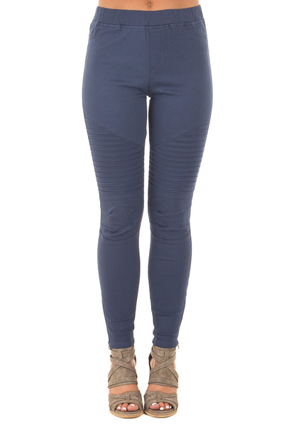 Navy Jegging with Moto Stitch Details and Side Zipper front view