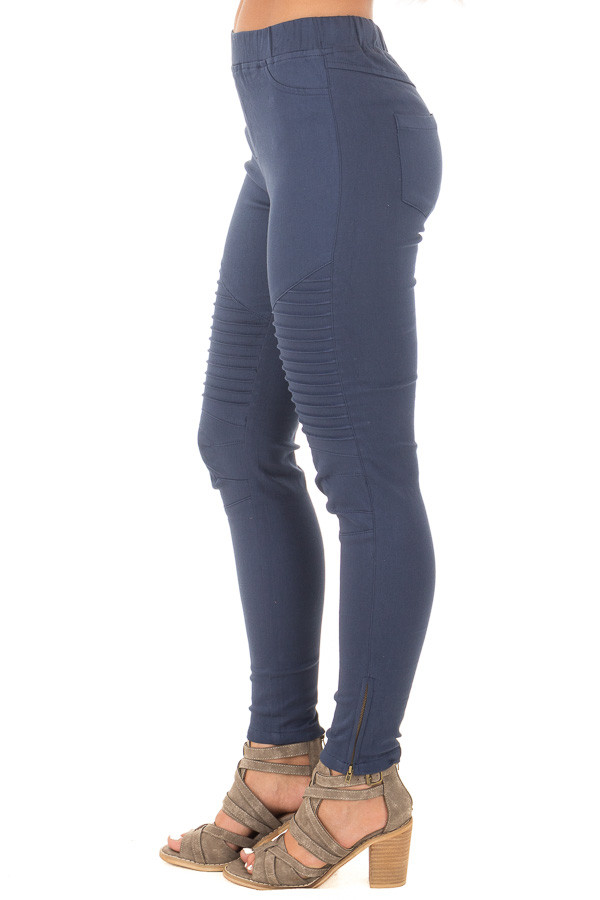 Navy Jegging with Moto Stitch Details and Side Zipper side right leg