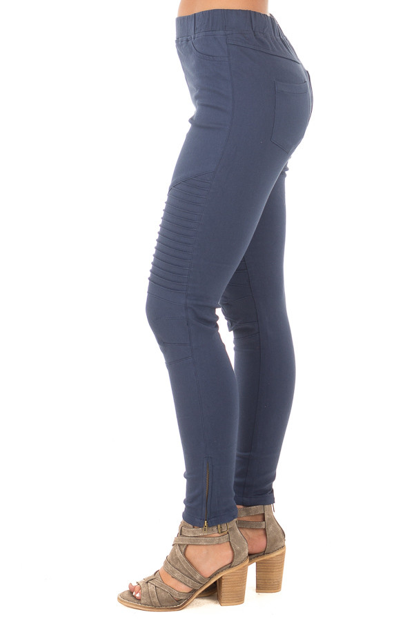 Navy Jegging with Moto Stitch Details and Side Zipper side left leg