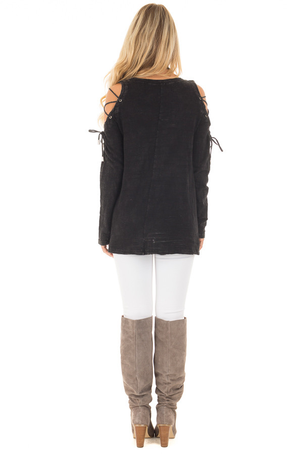 Black Mineral Wash Top with Lace Up Cold Shoulder back full body