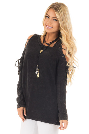 Black Mineral Wash Top with Lace Up Cold Shoulder front close up