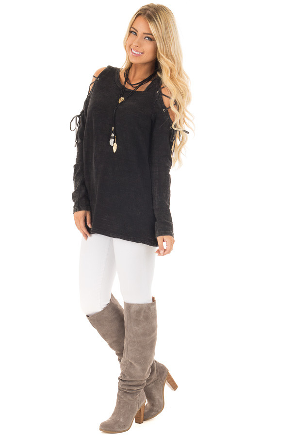 Black Mineral Wash Top with Lace Up Cold Shoulder front full body