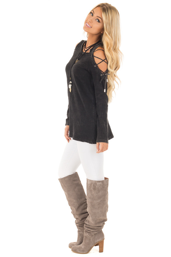 Black Mineral Wash Top with Lace Up Cold Shoulder side full body