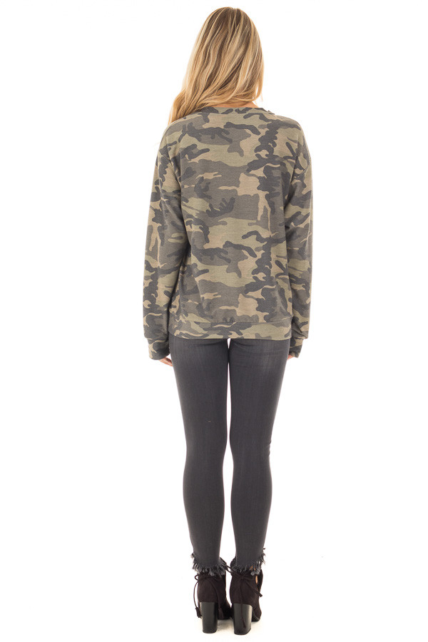 Camo Knit Top with Deep V Keyhole Neckline back full body