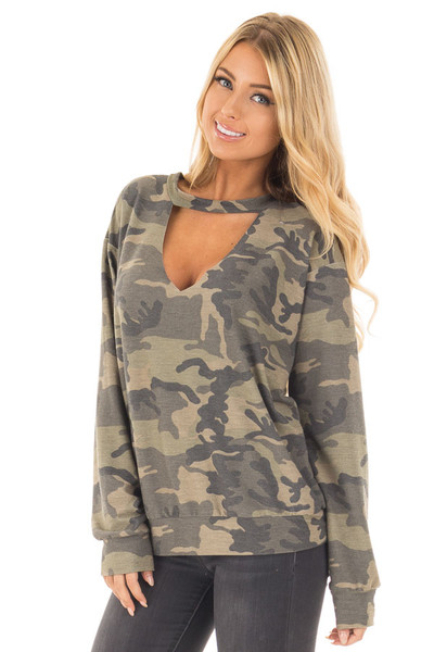 Camo Knit Top with Deep V Keyhole Neckline front close up