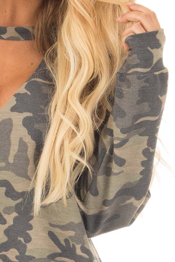 Camo Knit Top with Deep V Keyhole Neckline detail