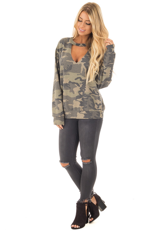 Camo Knit Top with Deep V Keyhole Neckline front full body