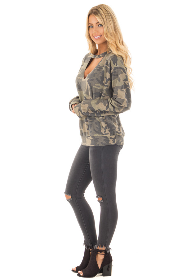 Camo Knit Top with Deep V Keyhole Neckline side full body