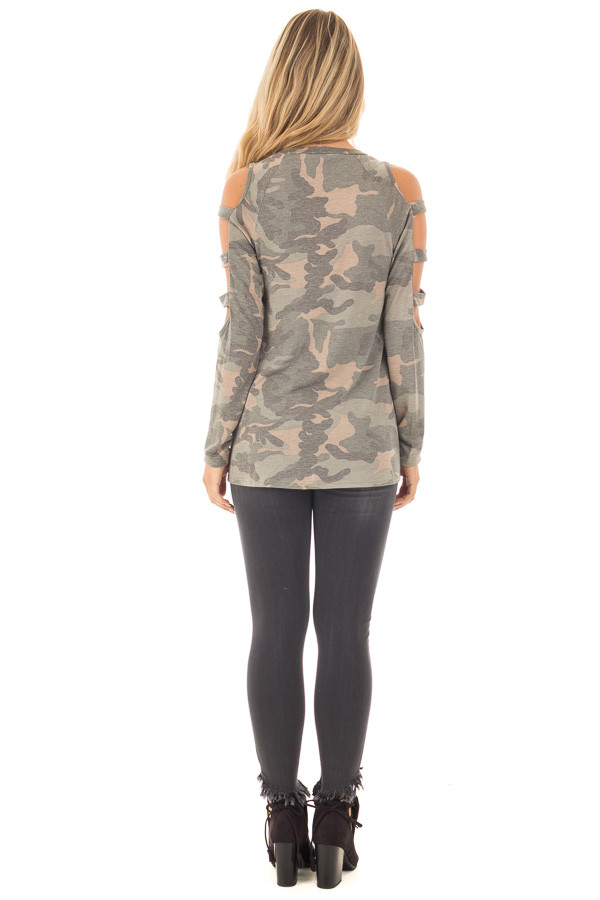 Camouflage Knit Top with Ladder Cut Open Sleeves back full body