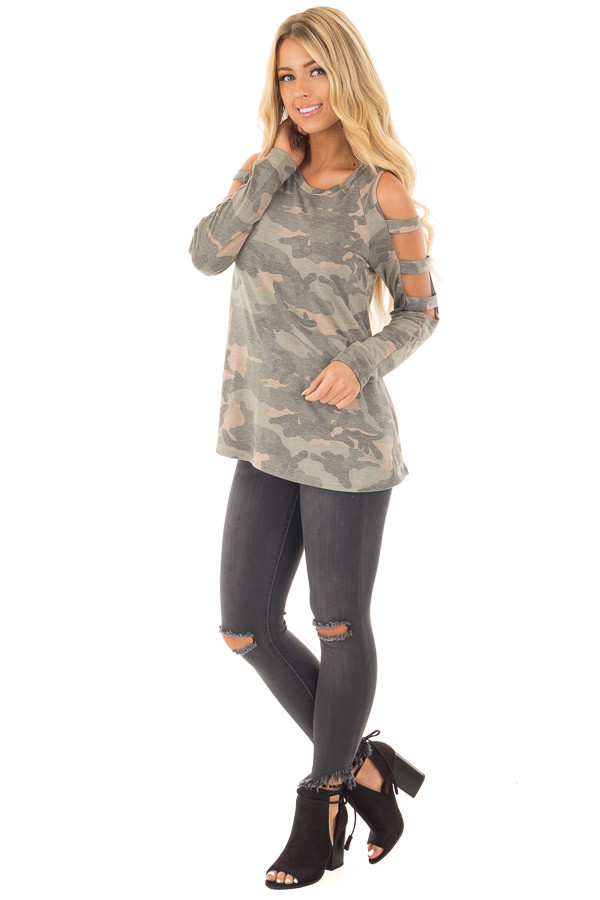 Camouflage Knit Top with Ladder Cut Open Sleeves front full body