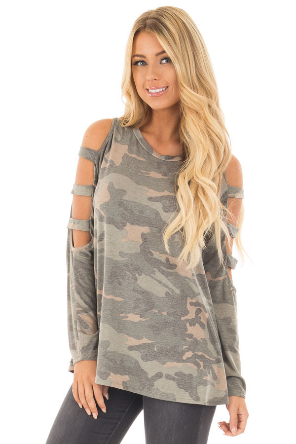 Camouflage Knit Top with Ladder Cut Open Sleeves front close up