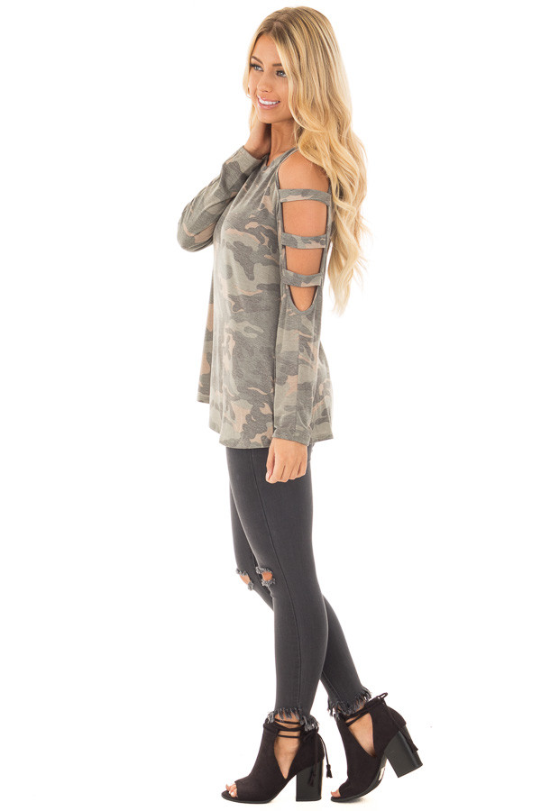 Camouflage Knit Top with Ladder Cut Open Sleeves side full body