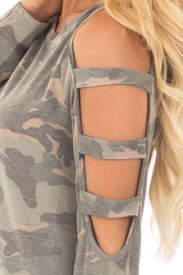 Camouflage Knit Top with Ladder Cut Open Sleeves detail