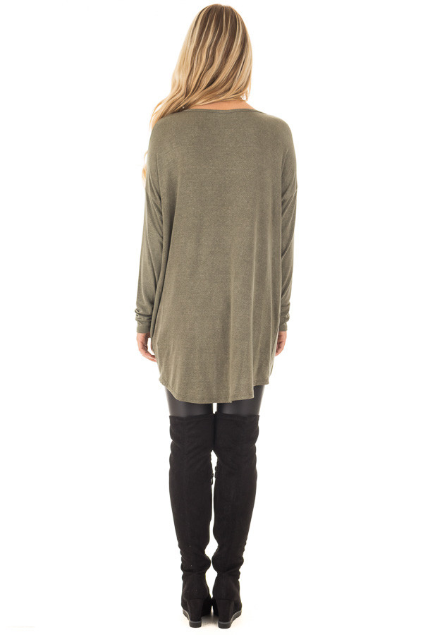 Olive Draped Loose Fit Top with Twisted Front Detail back full body