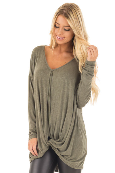 Olive Draped Loose Fit Top with Twisted Front Detail front close up