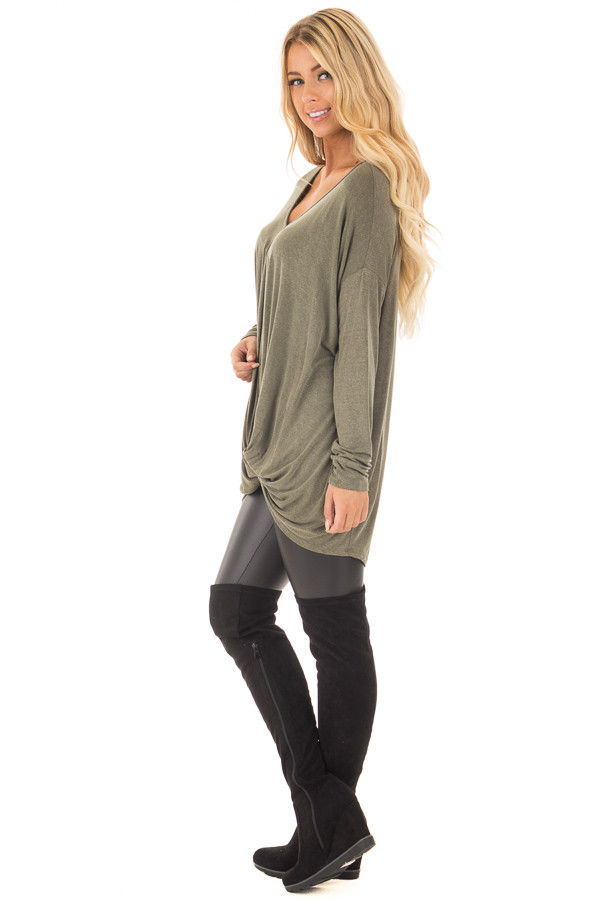 Olive Draped Loose Fit Top with Twisted Front Detail side full body