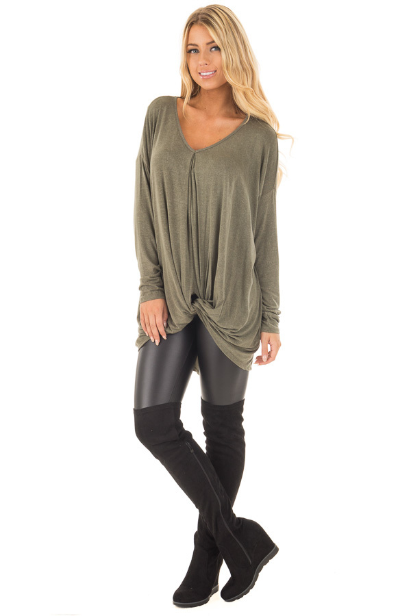 Olive Draped Loose Fit Top with Twisted Front Detail front full body