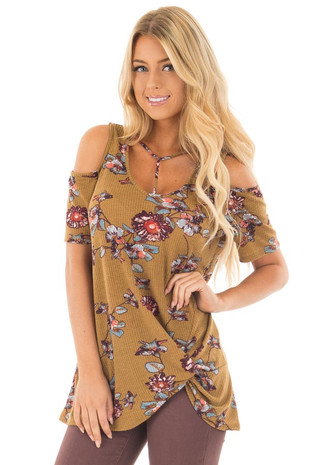 Dusty Olive Floral Print Cold Shoulder Tee with Twist Detail front close up