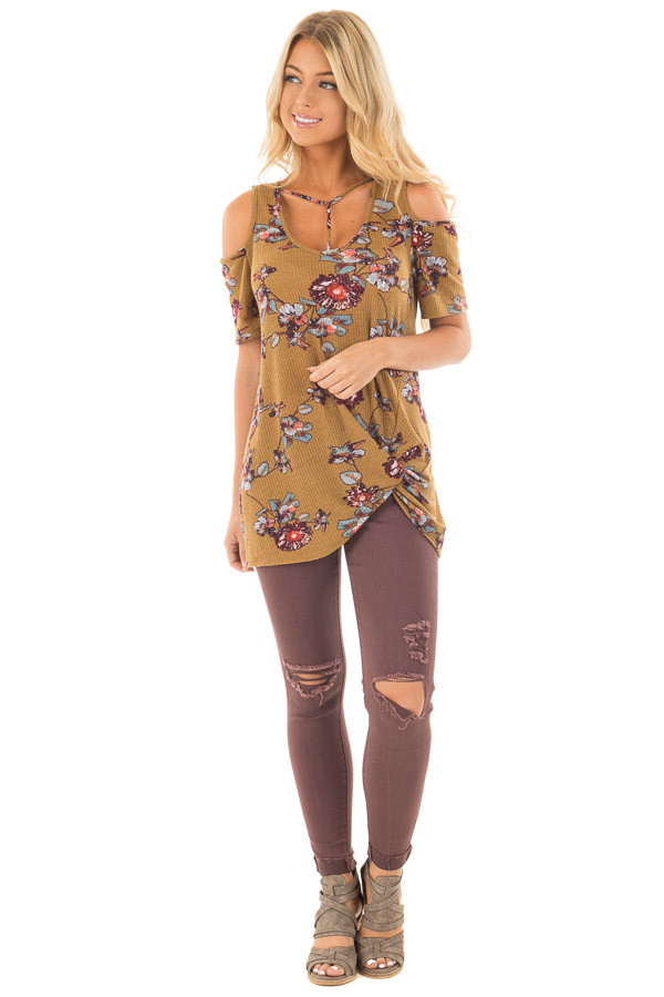 Dusty Olive Floral Print Cold Shoulder Tee with Twist Detail front full body